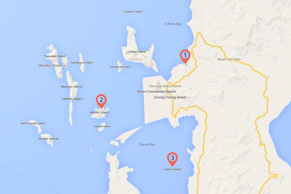 Op vakantie naar El Nido in de Filipijnen -kaart