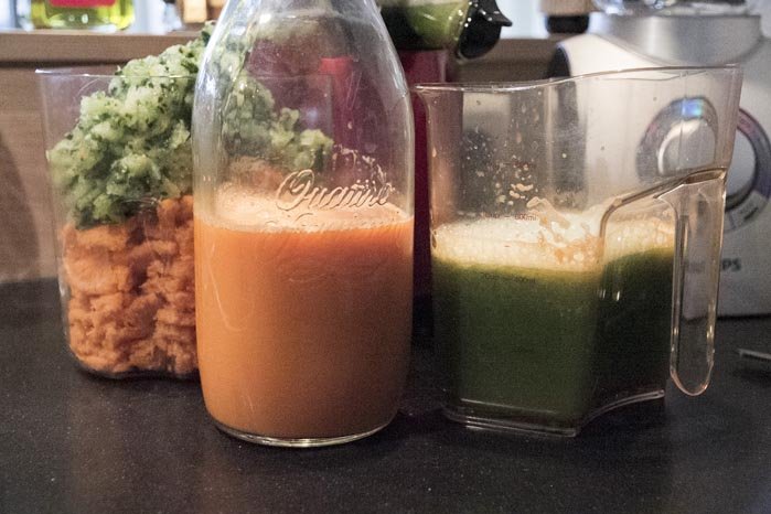 Verse groentesap wortel komkommer